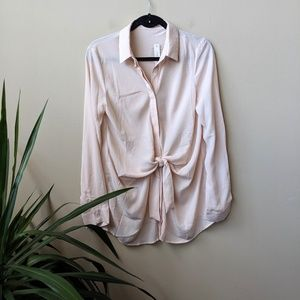Mustard Seed Tie Front Button Down Cream Blouse M